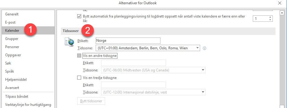 Hvordan endre - legge til tidssoner i Outlook 1
