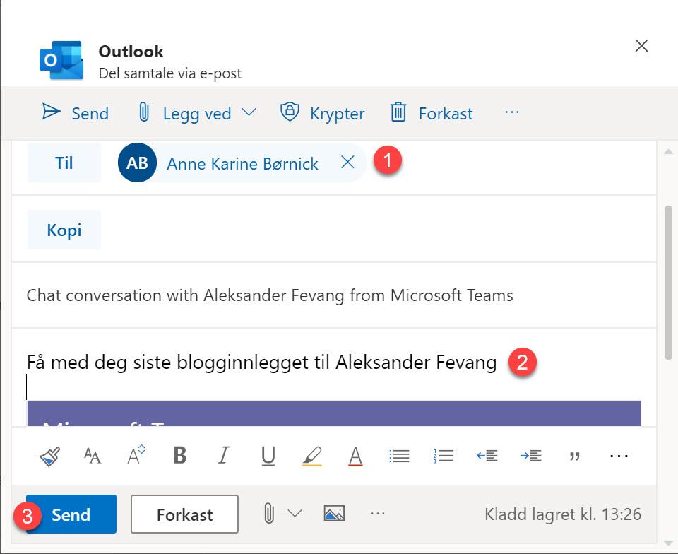 Hvordan dele en Microsoft Teams samtale som e-post i Outlook 4