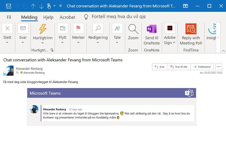 Hvordan dele en Microsoft Teams samtale som e-post i Outlook 5-2