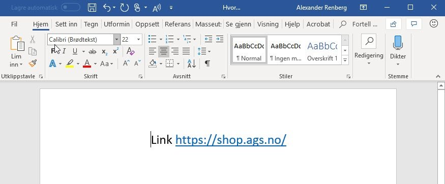 Farge-på-Linker-i-Powerpoint-Word 2