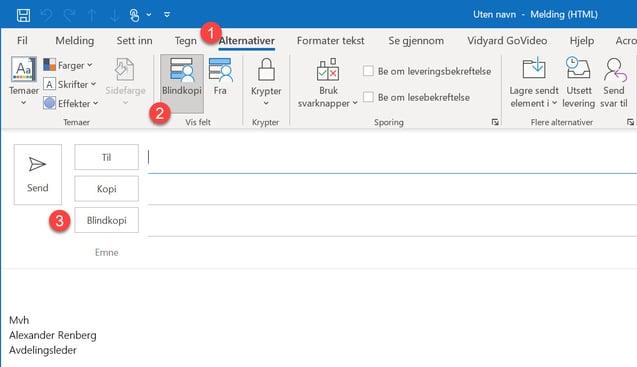 Hvordan aktivere blindkopi I Outlook 03