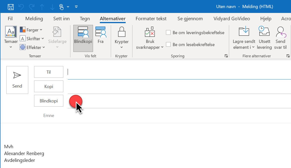 Hvordan aktivere blindkopi I Outlook 04