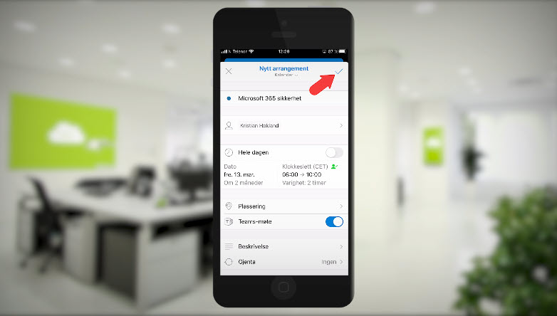 Hvordan booke et Microsoft Teams møte med mobilen 9