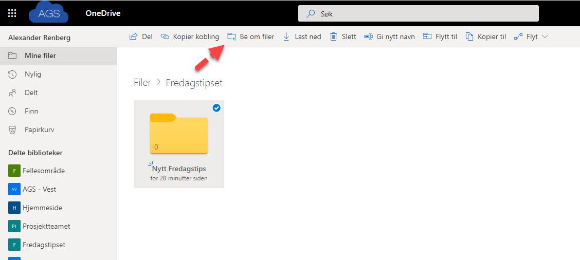 Hvordan bruke Request Files funksjonen i OneDrive for Business 5