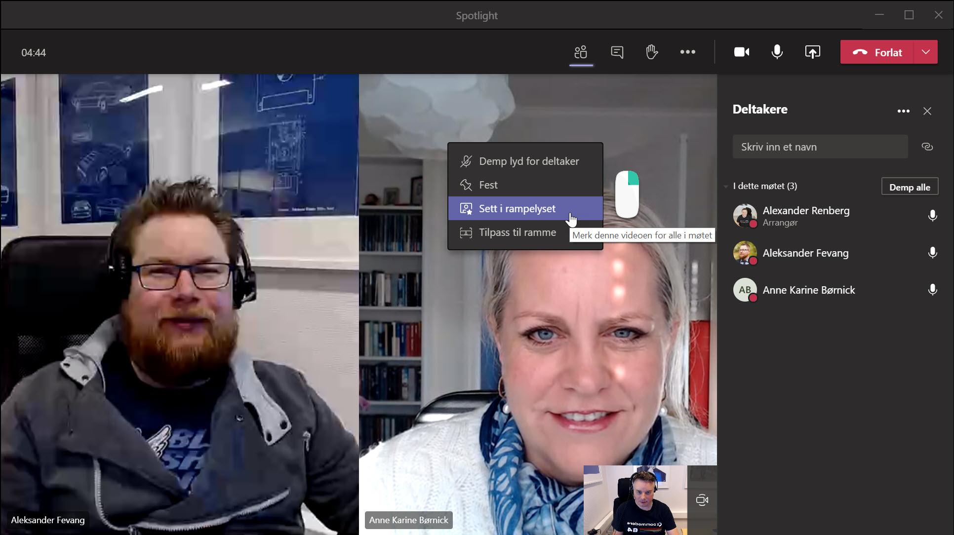 Hvordan bruke rampelys funskjonen i Microsoft Teams 1