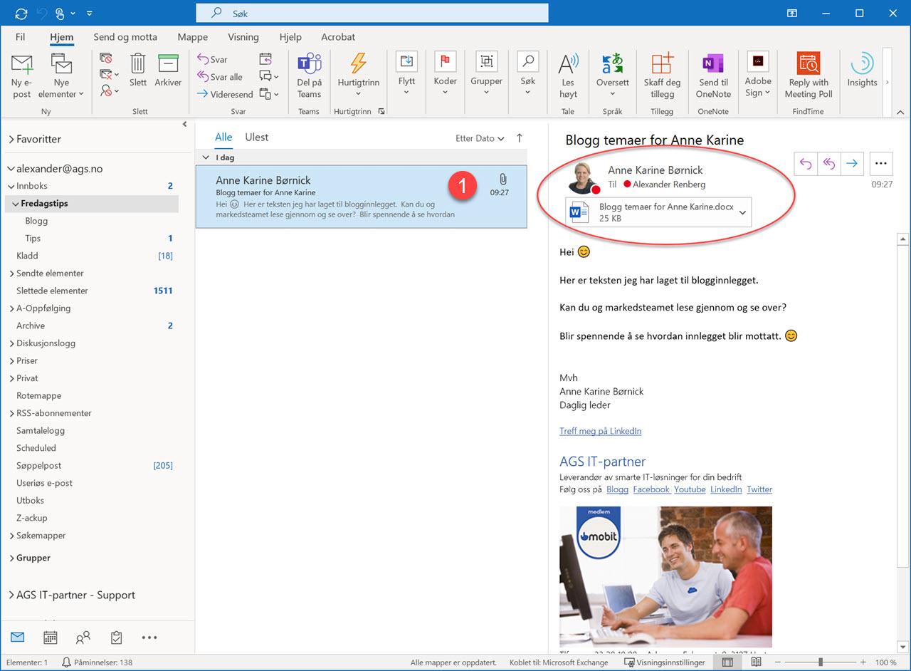 Hvordan dele epost til Teams fra Outlook 1