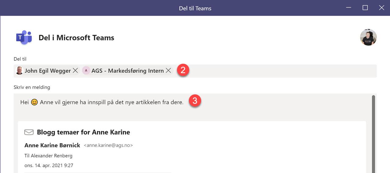 Hvordan dele epost til Teams fra Outlook 5