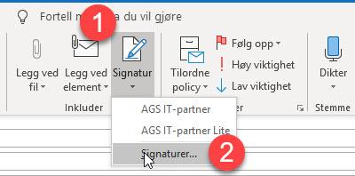Hvordan endre epost signatur i Outlook 2