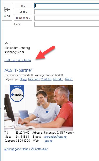 Hvordan endre epost signatur i Outlook 5