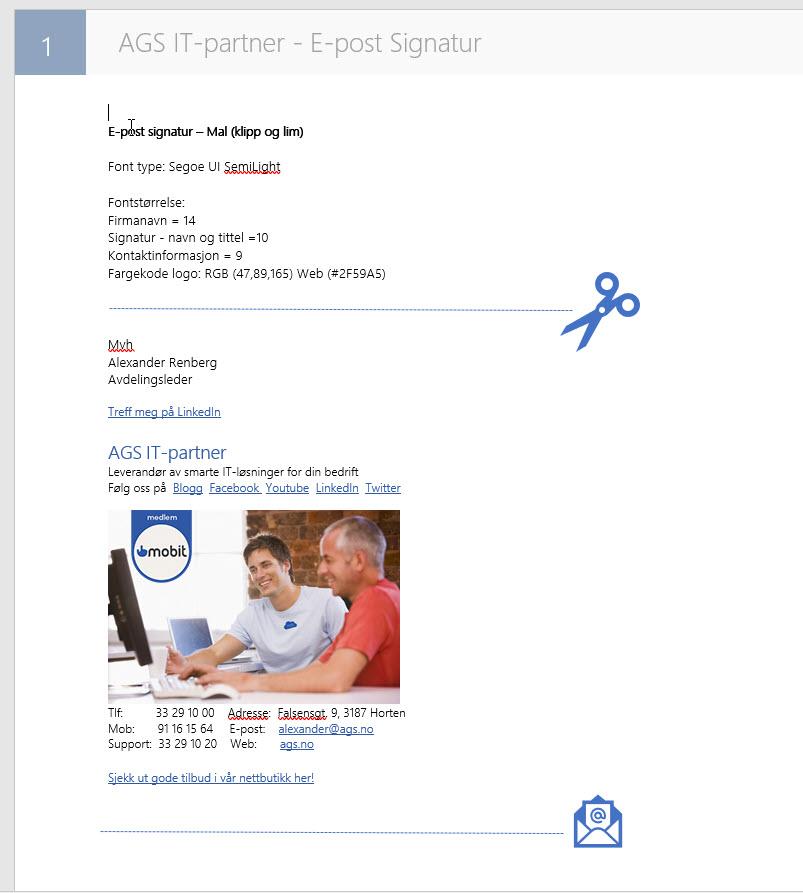 Hvordan endre epost signatur i Outlook 8