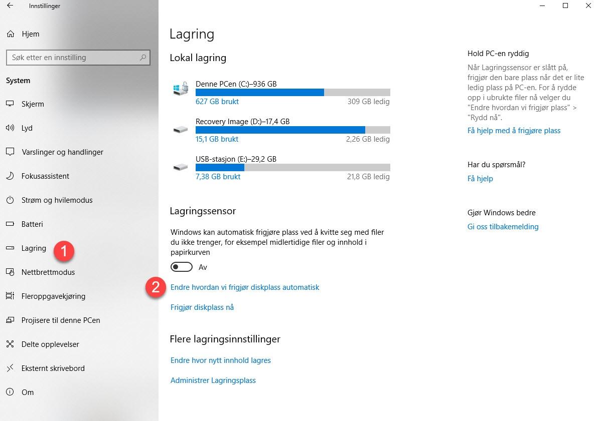 Hvordan få Lagringssensor til å automatisk rydde Windows 2