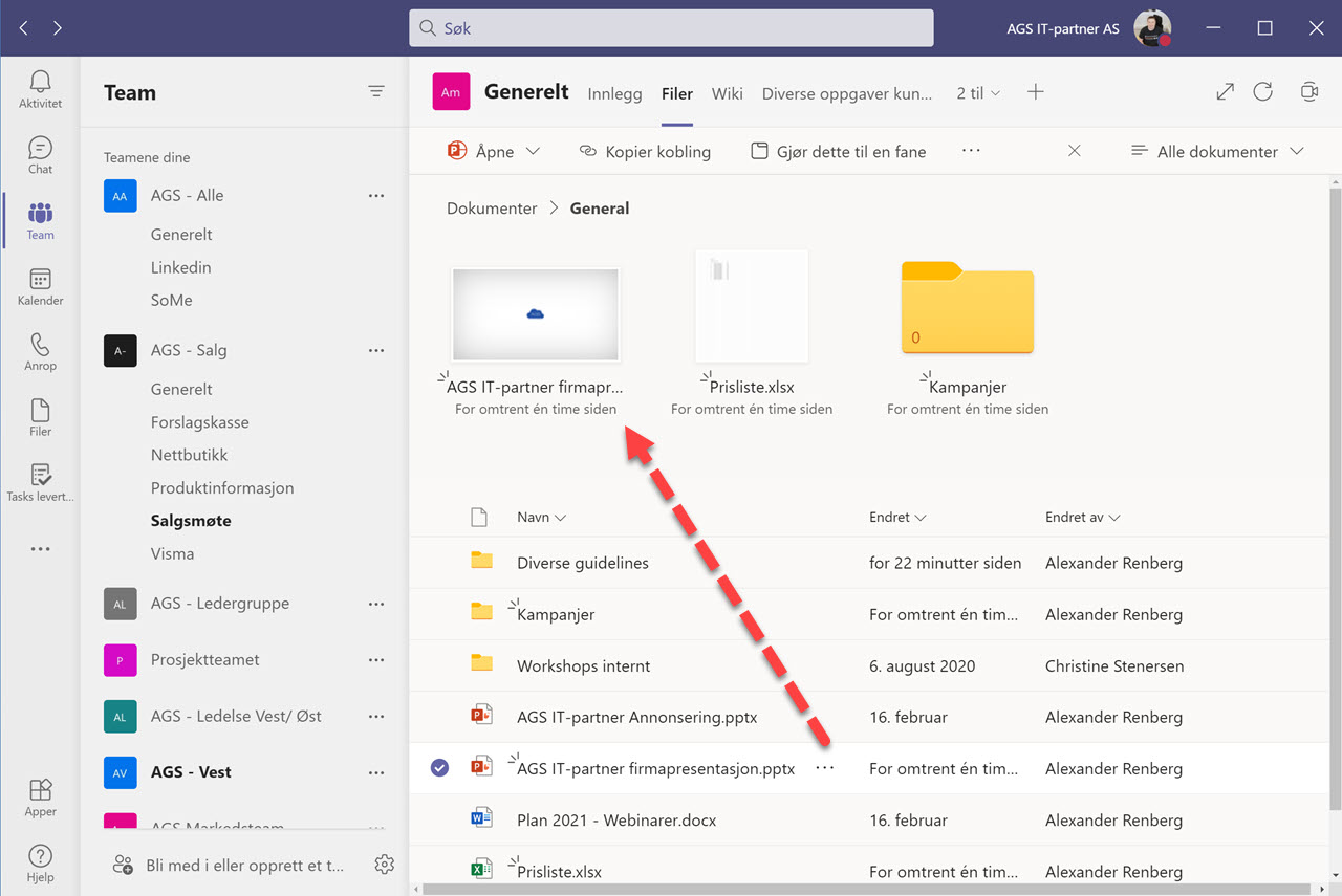 Hvordan feste filer og mapper i Microsoft Teams 7