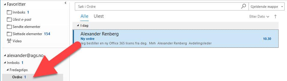 Hvordan flytte e-post automatisk fra innboks til en mappe i Outlook 10