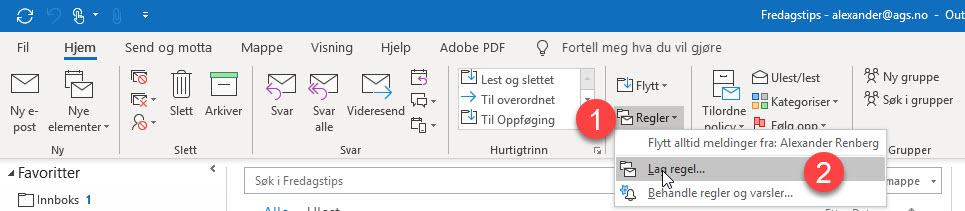 Hvordan flytte e-post automatisk fra innboks til en mappe i Outlook 5