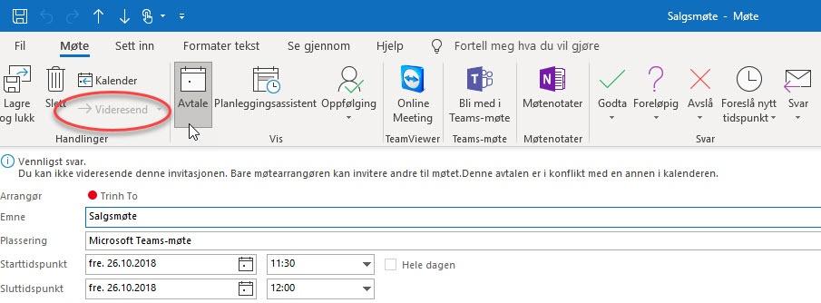 Hvordan hindre videresending av et møte i Outlook 3