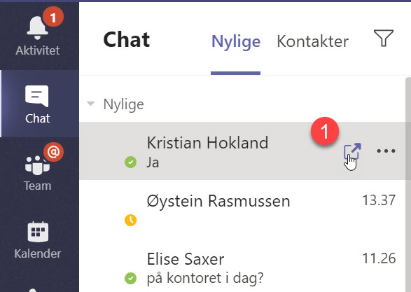 Hvordan løsne chat vinduet i Microsoft Teams 01