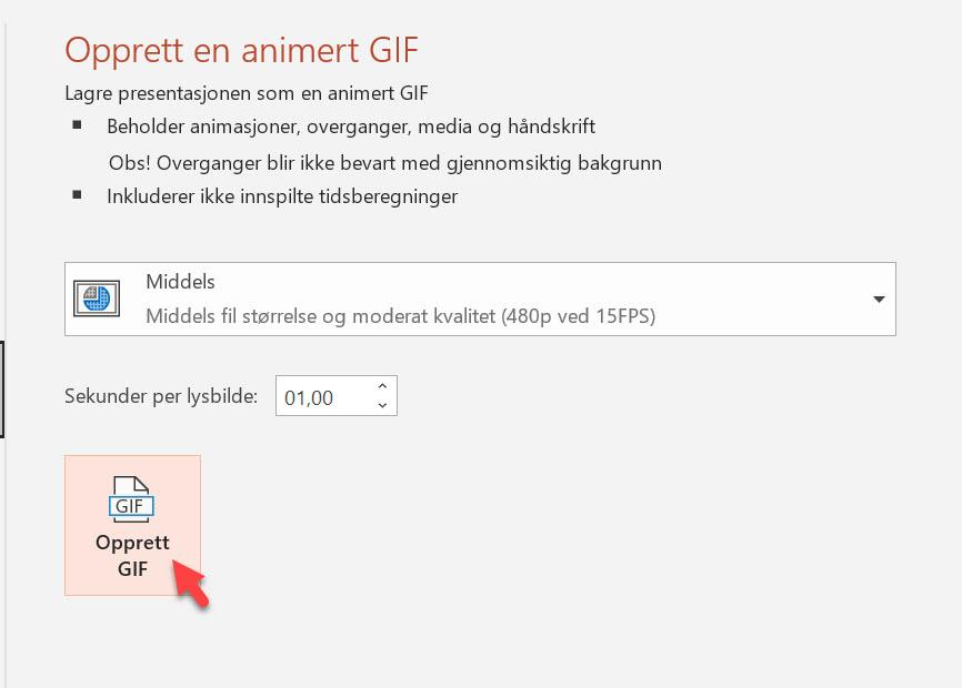 Hvordan lage animert GIF i Powerpoint 10