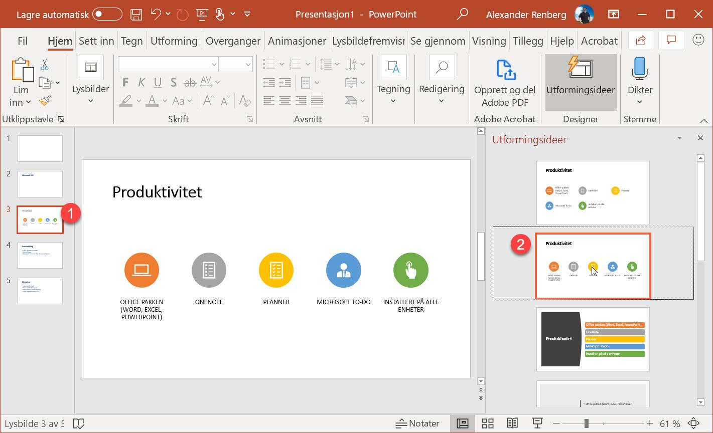 Hvordan lage utkast til en ferdig Powerpoint presentasjon i Word 13