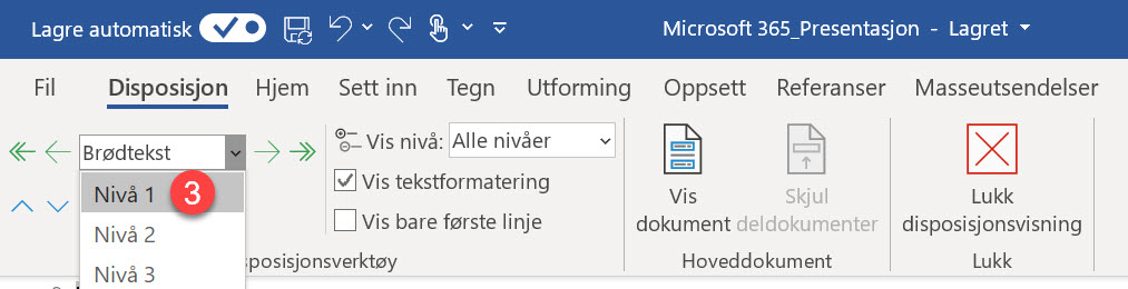Hvordan lage utkast til en ferdig Powerpoint presentasjon i Word 4