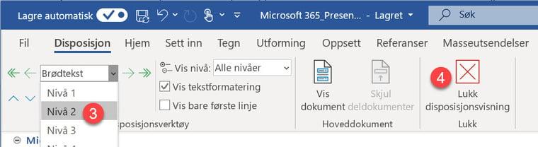 Hvordan lage utkast til en ferdig Powerpoint presentasjon i Word 7-1