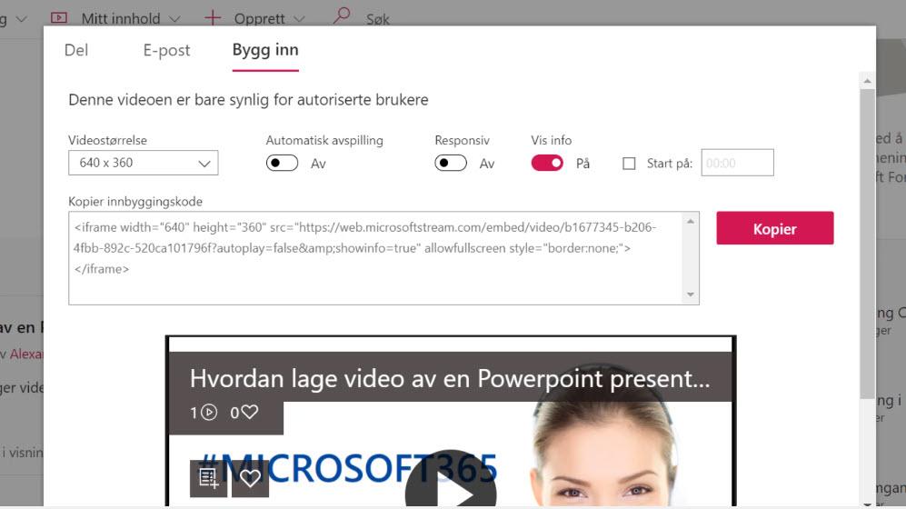 Hvordan lage video av en Powerpoint presentasjon på Microsoft Stream 04