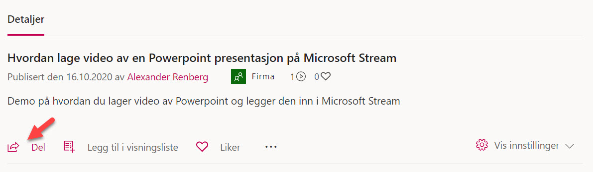 Hvordan lage video av en Powerpoint presentasjon på Microsoft Stream 6