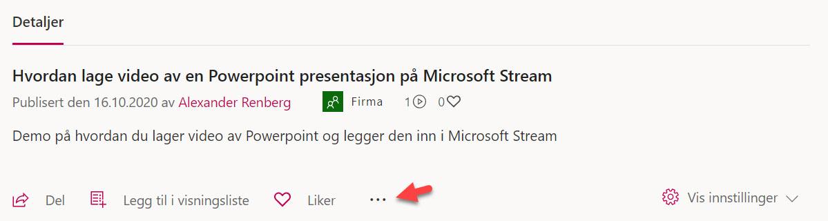 Hvordan lage video av en Powerpoint presentasjon på Microsoft Stream 7