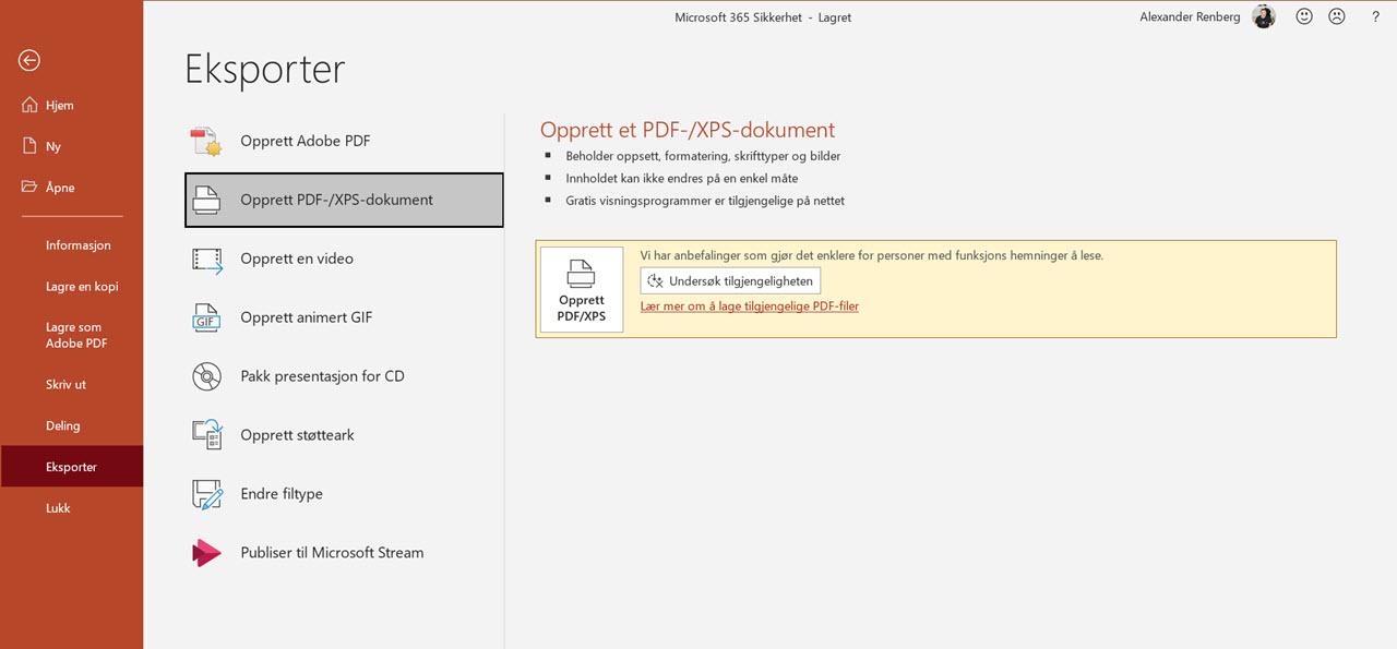 Hvordan sende Powepoint presentasjon som PDF 0