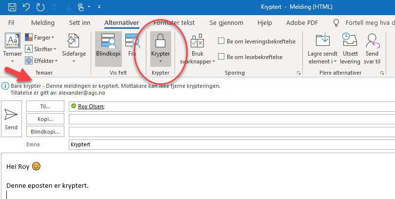Hvordan sende en kryptert post i Office 365 2