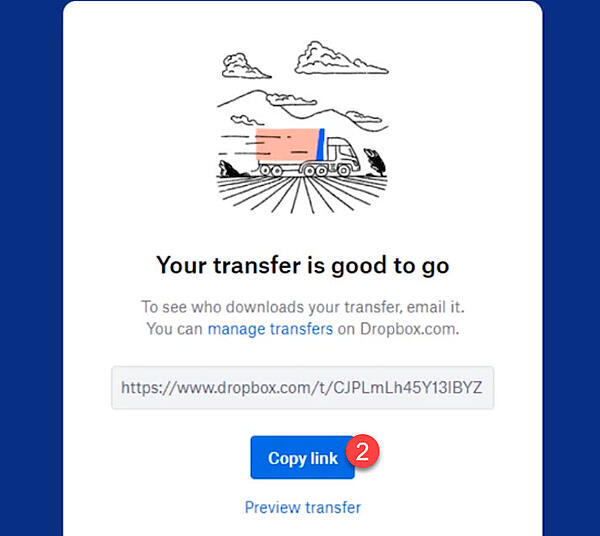 Hvordan sende filer med Dropbox transfer 11