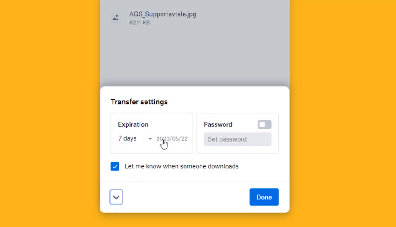 Hvordan sende filer med Dropbox transfer 2
