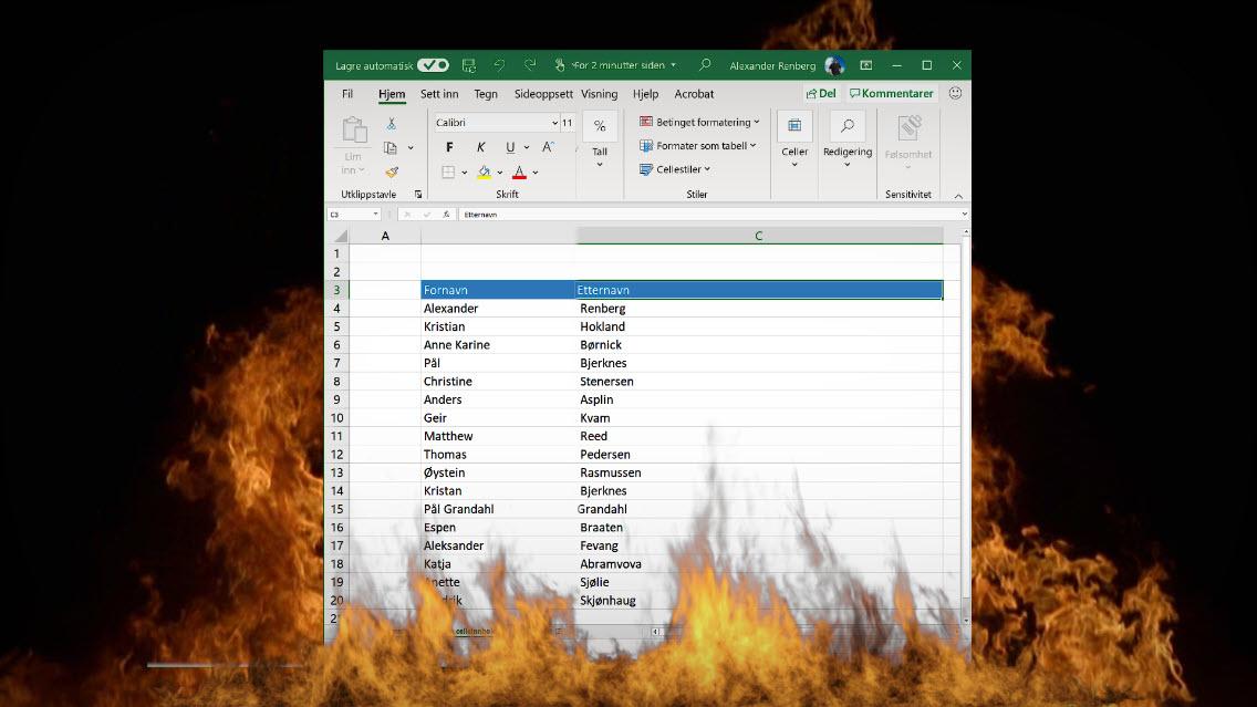 Hvordan slå sammen celleinnhold i Excel 01