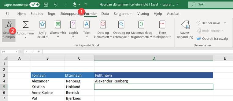 Hvordan slå sammen celleinnhold i Excel 3