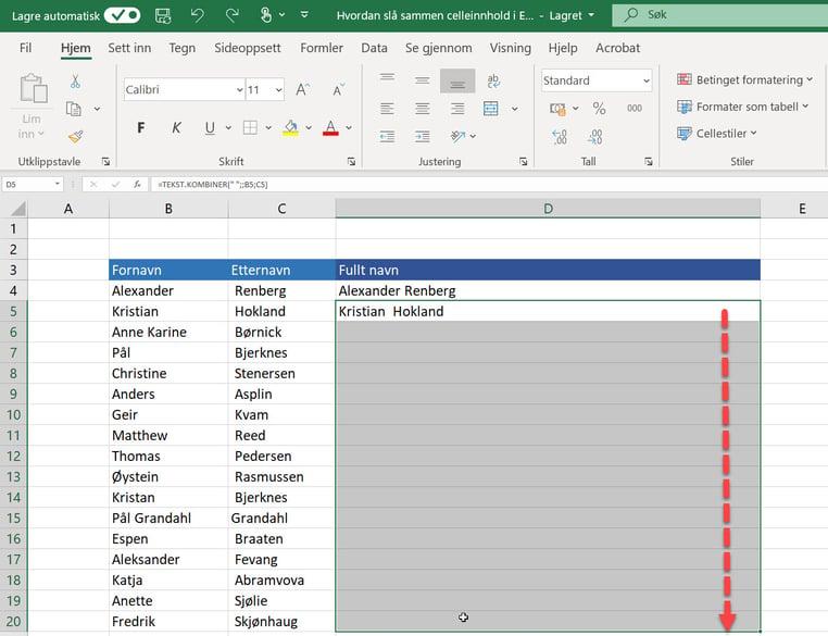 Hvordan slå sammen celleinnhold i Excel 8