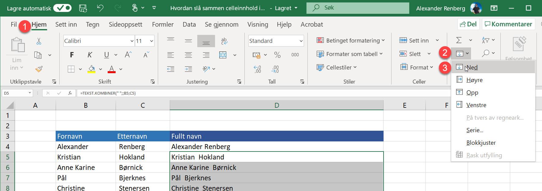 Hvordan slå sammen celleinnhold i Excel 9