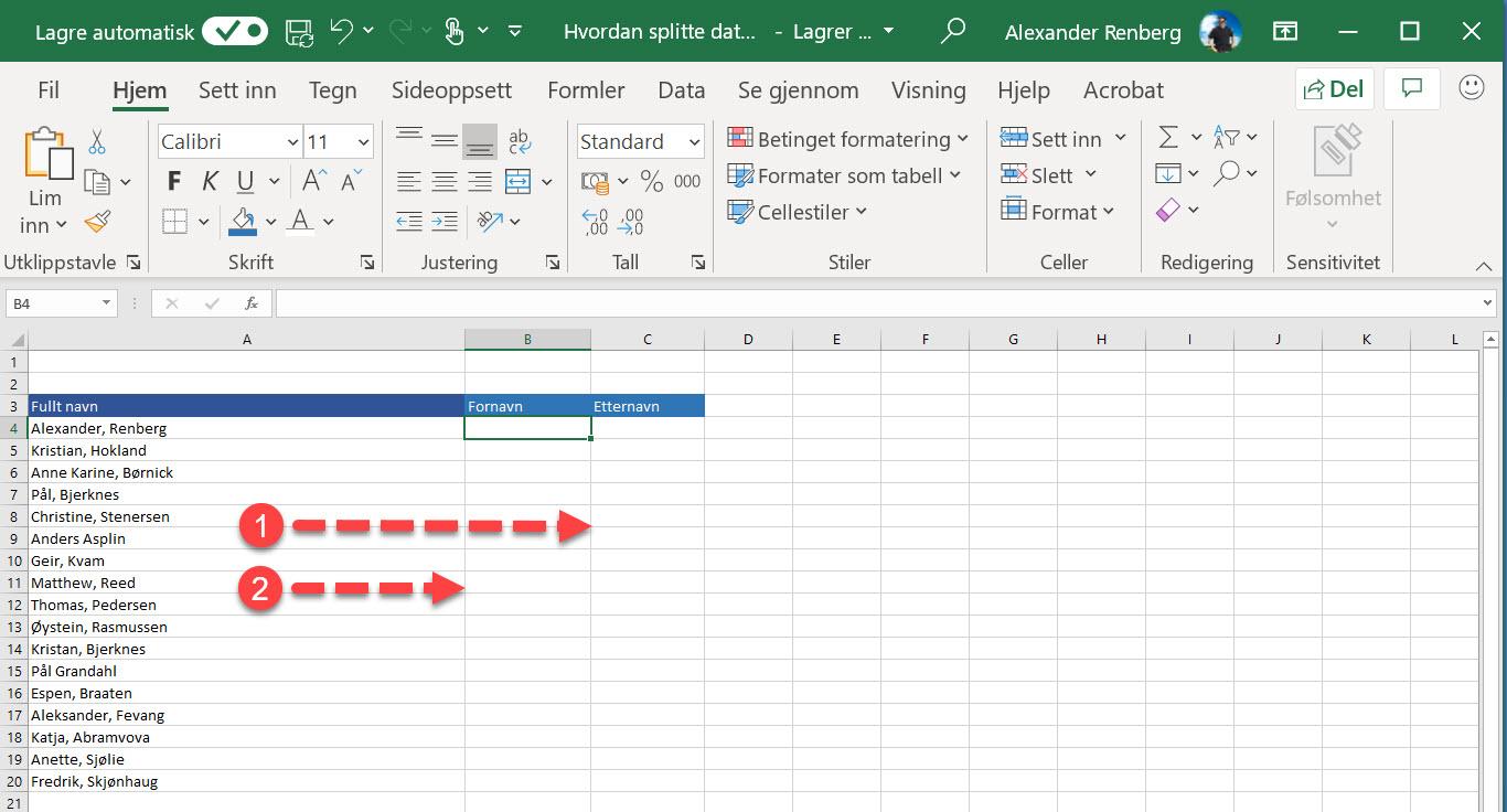 Hvordan splitte data inn i forskjellige kolonner i Excel 1