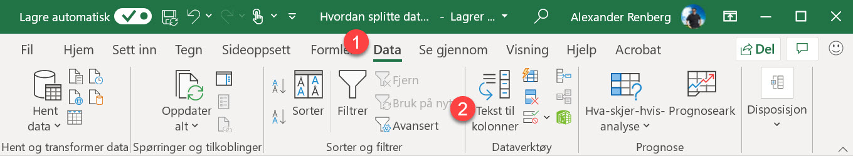 Hvordan splitte data inn i forskjellige kolonner i Excel 2