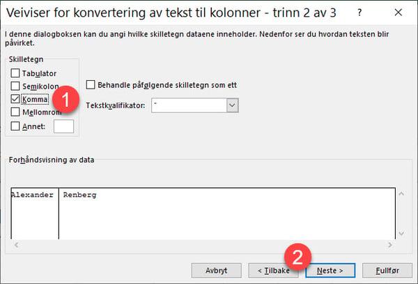 Hvordan splitte data inn i forskjellige kolonner i Excel 4