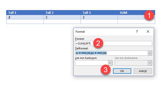 Hvordan summere tall i en tabell eller kolonne i Word 6