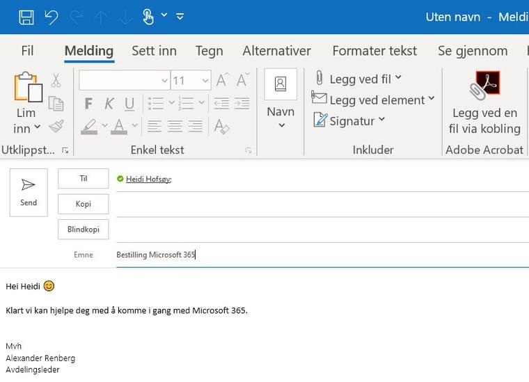 Hvordan tagge andre i en Outlook e-post 2