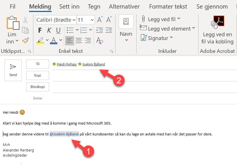 Hvordan tagge andre i en Outlook e-post 3