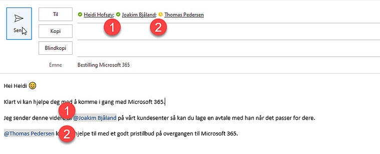 Hvordan tagge andre i en Outlook e-post 5