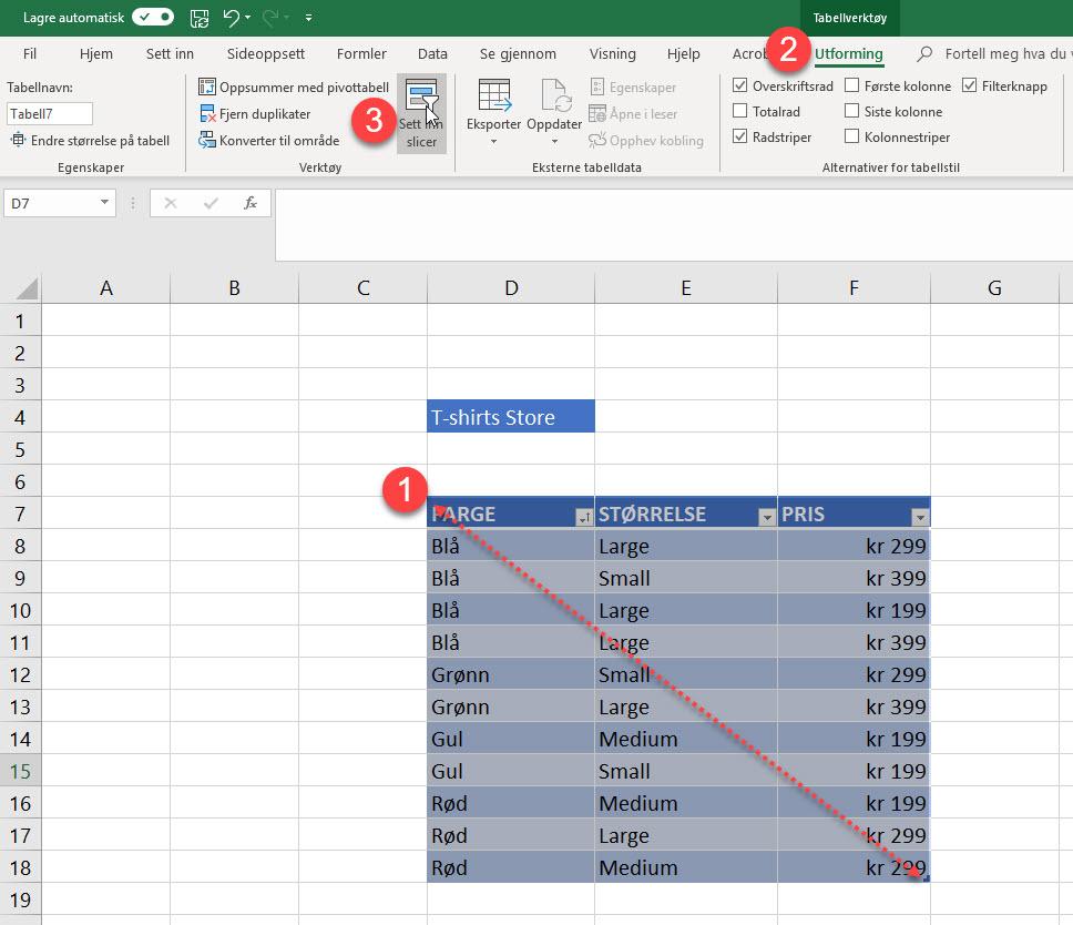 Magisk Excel Triks - Slik bruker du Slicer funksjonen 2