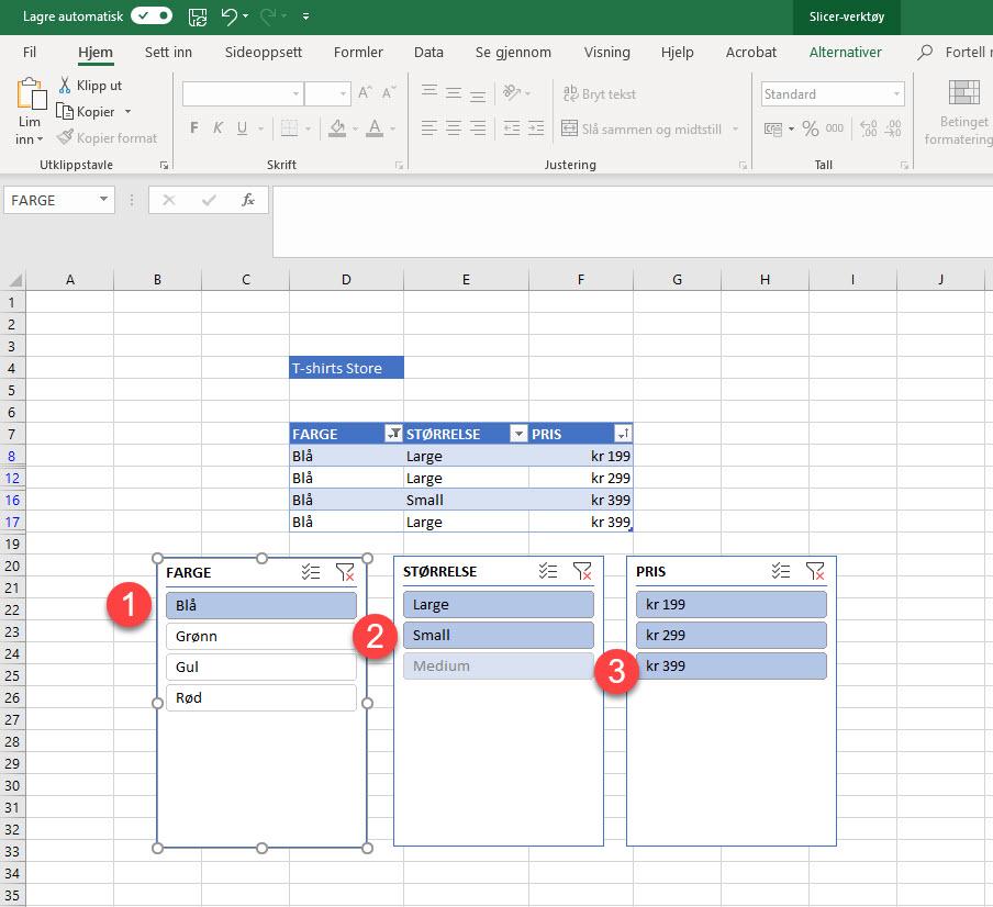 Magisk Excel Triks - Slik bruker du Slicer funksjonen 4