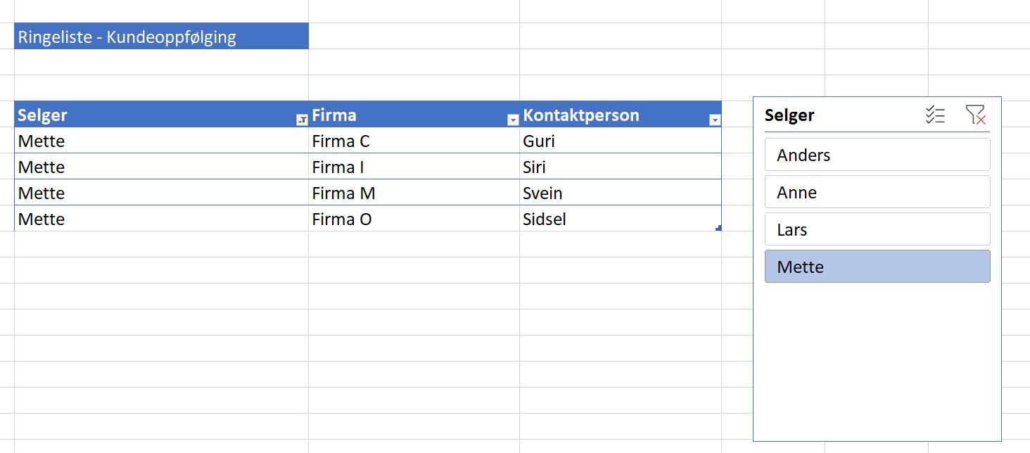 Magisk Excel Triks - Slik bruker du Slicer funksjonen 5-1