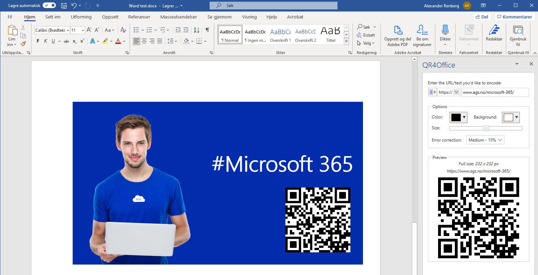 Microsoft 365 - Hvordan lage QR kode GRATIS i Word og PowerPoint 13-1