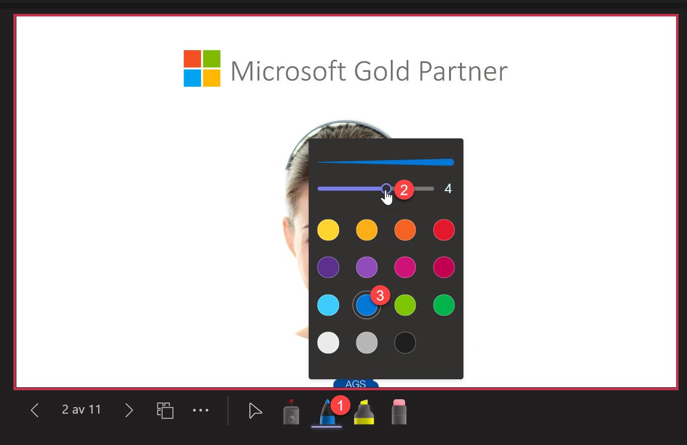 Microsoft Teams - Laser peker og pen i Powerpoint Live 10