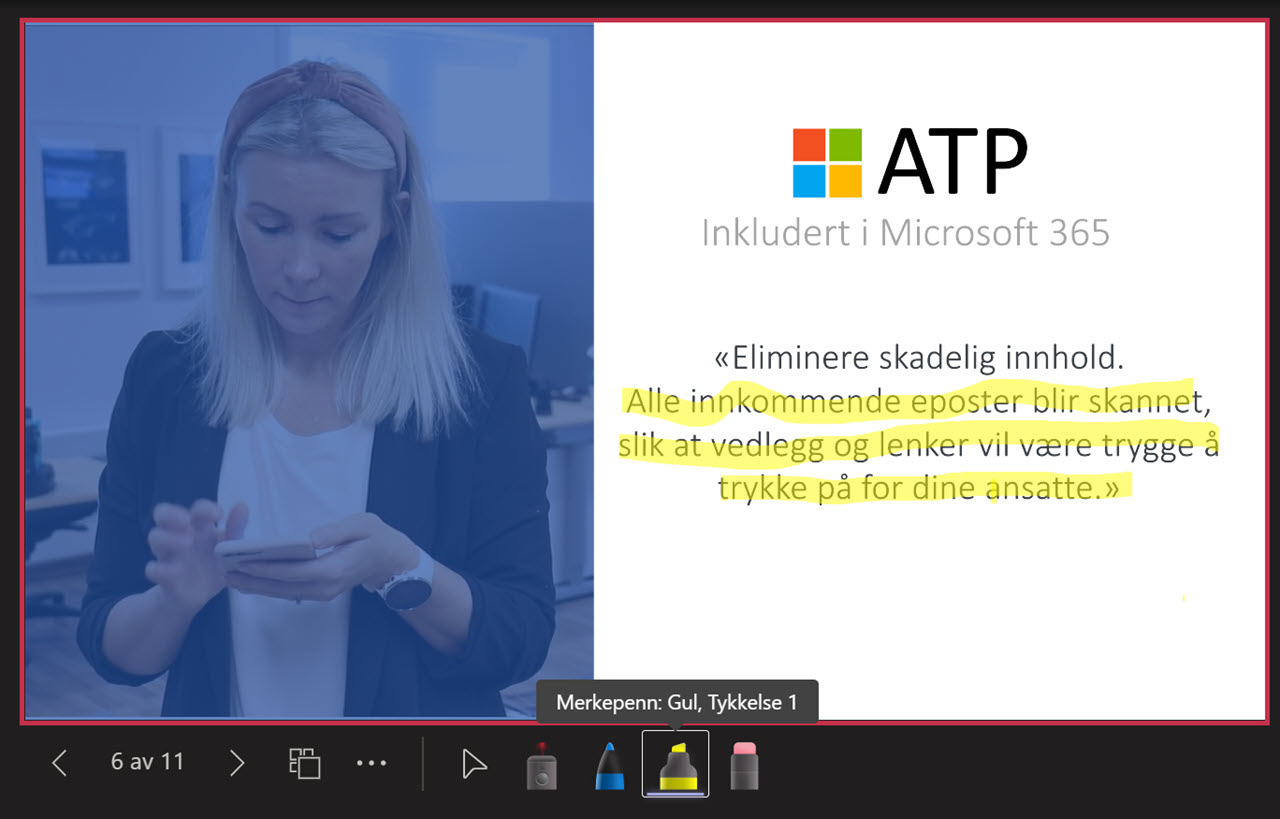 Microsoft Teams - Laser peker og pen i Powerpoint Live 12
