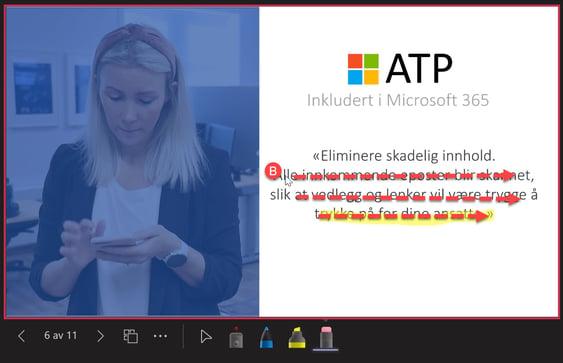 Microsoft Teams - Laser peker og pen i Powerpoint Live 14