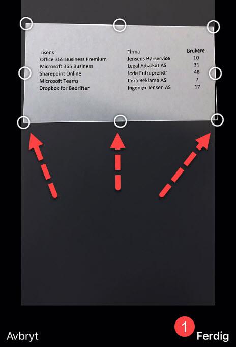 Sett inn Excel regneark fra papir med bildet på mobilen 4